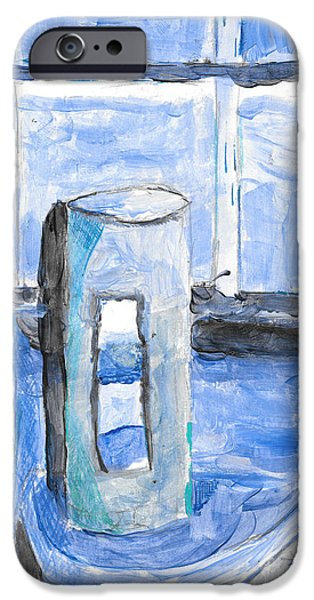 Asymmetrical Paintings iPhone Cases - Bathe in Bleu iPhone Case by David Heid