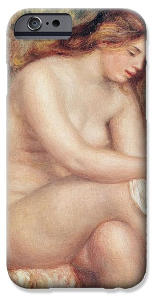 Impressionist Photographs iPhone Cases - Bather Drying Herself, C.1910 Oil On Canvas iPhone Case by Pierre Auguste Renoir