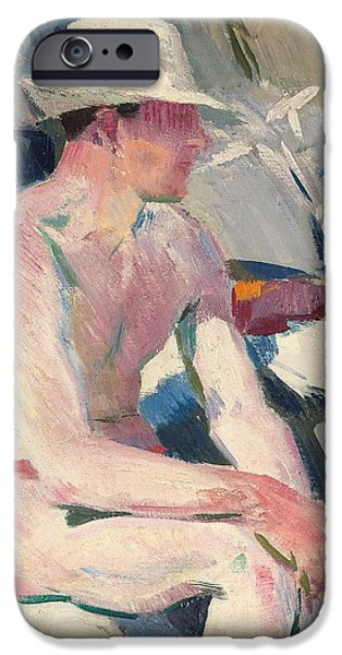 Bathing Paintings iPhone Cases - Bather in a white hat iPhone Case by Francis Campbell Boileau Cadell