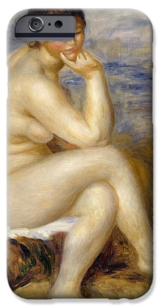 Bathers iPhone Cases - Bather Seated on a Rock iPhone Case by Pierre Auguste Renoir