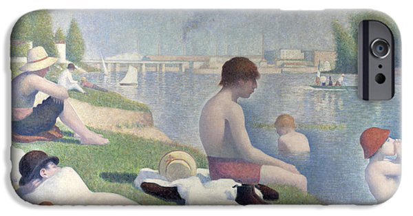 Seurat iPhone Cases - Bathers at Asnieres iPhone Case by Georges Seurat