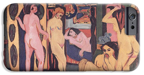 Abstract Expressionist iPhone Cases - Bathers in a Room iPhone Case by Ernst Ludwig Kirchner
