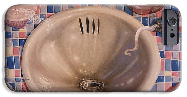 Skewed iPhone Cases - BATHROOM SINK 1991  Skewed perspective series 1991 - 2000 iPhone Case by Larry Preston