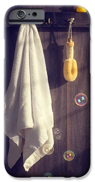 Wooden Door iPhone Cases - Bathroom Towel iPhone Case by Amanda And Christopher Elwell