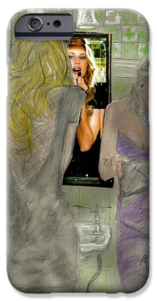 Mixed Media Drawings iPhone Cases - Bathroom Visit iPhone Case by P J Lewis
