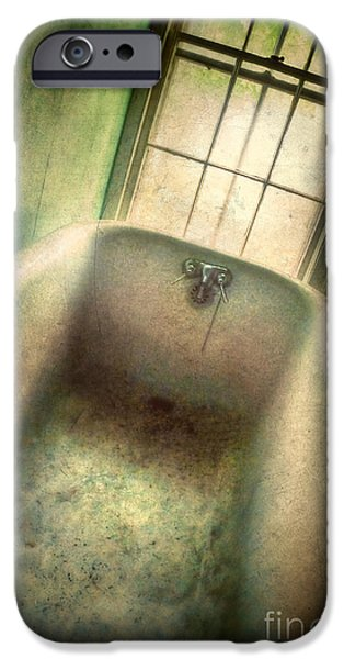Eerie iPhone Cases - Bathtub in Abandoned House iPhone Case by Jill Battaglia