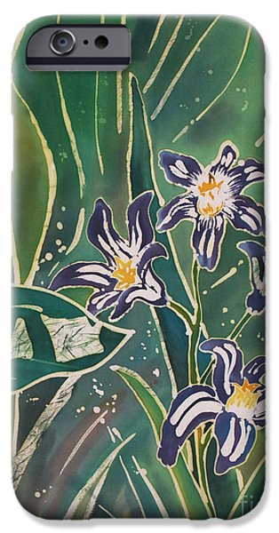 Wax Tapestries - Textiles iPhone Cases - Batik Detail - Pushkinia iPhone Case by Anna Lisa Yoder