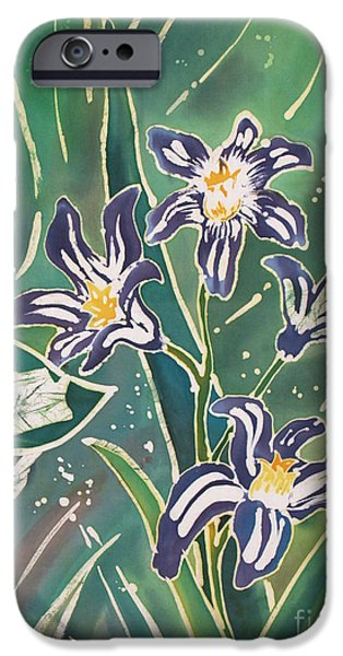 Wax Tapestries - Textiles iPhone Cases - Batik Macro - Pushkinia iPhone Case by Anna Lisa Yoder