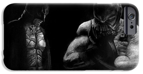 Inverted Drawings iPhone Cases - Batman and Bane. iPhone Case by Jaedin Always