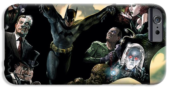 Comics iPhone Cases - Batman and Foes iPhone Case by Ryan Barger