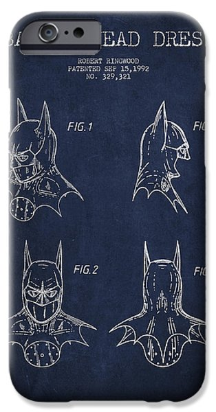 Batman Head Dress Patent Drawing iPhone Case by Aged Pixel