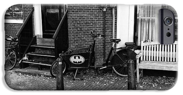 Batman Print iPhone Cases - Batman in Amsterdam mono iPhone Case by John Rizzuto