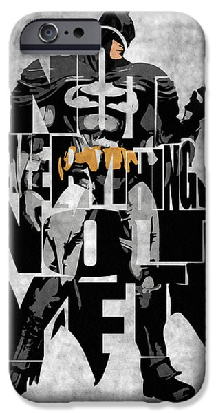 Wall Art Digital Art iPhone Cases - Batman Inspired Typography Poster iPhone Case by Ayse Deniz