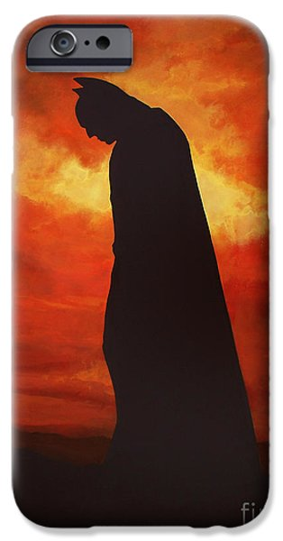Film Paintings iPhone Cases - Batman  iPhone Case by Paul  Meijering