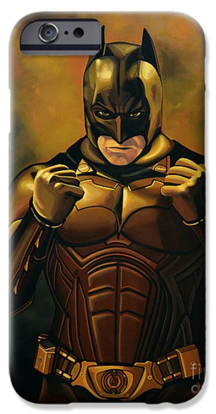 Christian work Paintings iPhone Cases - Batman The Dark Knight iPhone Case by Paul Meijering