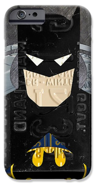 Dark Knight iPhone Cases - Batman The Dark Knight Portrait Superhero Recycled License Plate Art iPhone Case by Design Turnpike