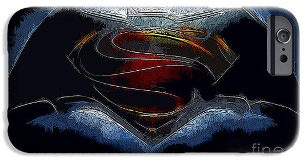 Dc Universe iPhone Cases - Batman v Superman - Colored Pencils iPhone Case by Michael Braham