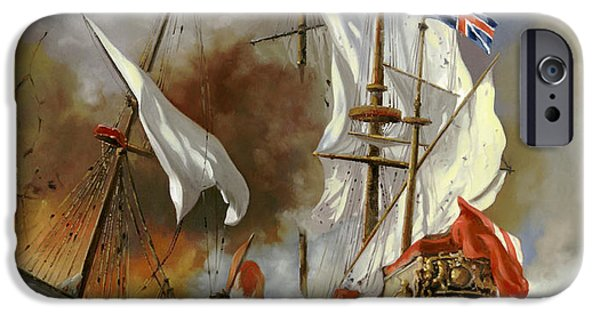 Sail Boat iPhone Cases - Battaglia Sul Mare iPhone Case by Guido Borelli