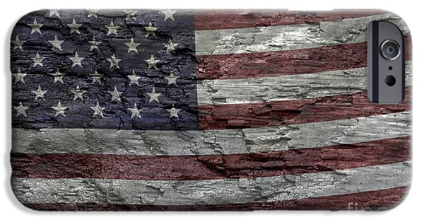 Old Glory iPhone Cases - Battered Old Glory iPhone Case by John Stephens