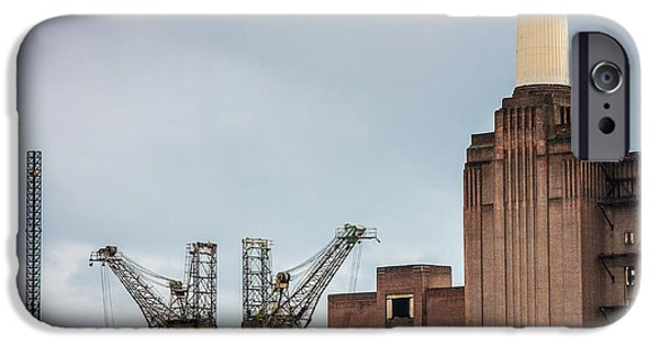 Industry iPhone Cases - Battersea Power Station Cranes and Chimney iPhone Case by Semmick Photo