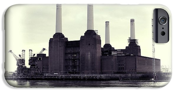 Power Animal iPhone Cases - Battersea Power Station Vintage iPhone Case by Jasna Buncic