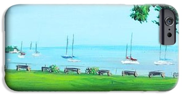 Historic Site Paintings iPhone Cases - Battery Park Newport RI iPhone Case by Patty Kay Hall