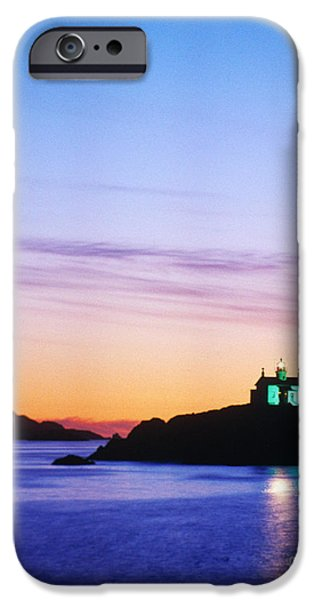 Ocean Sunset iPhone Cases - Battery Point Lighthouse, Crescent iPhone Case by Jim Corwin