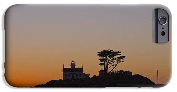 Lighthouse Pyrography iPhone Cases - Battery Point Lighthouse Sunset iPhone Case by DUG Harpster