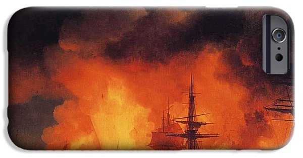 Tall Ship iPhone Cases - Battle Cesme iPhone Case by Ivan Constantinovich Aivazovsky