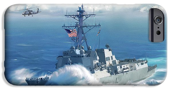 Usn iPhone Cases - Battle Ensign iPhone Case by Dale Jackson