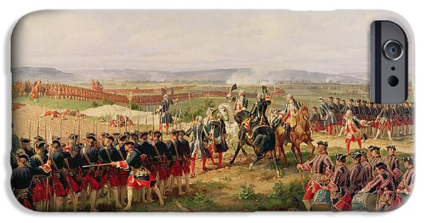 Arrow iPhone Cases - Battle Of Fontenoy, 11 May 1745 The French And Allies Confronting Each Other iPhone Case by Felix Philippoteaux