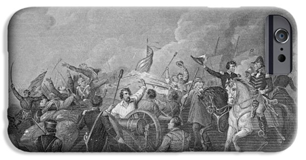President iPhone Cases - Battle Of New Orleans, 8th January 1815, From Gleasons Pictorial, 1854 Engraving B&w Photo iPhone Case by Thomas Light Merritt