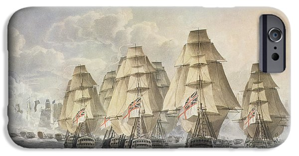 Ocean Drawings iPhone Cases - Battle of Trafalgar iPhone Case by Robert Dodd