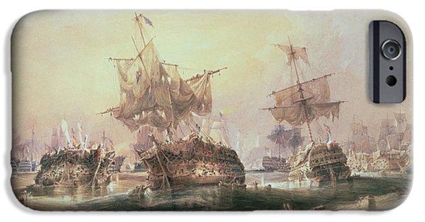 Admiral iPhone Cases - Battle of Trafalgar iPhone Case by William John Huggins