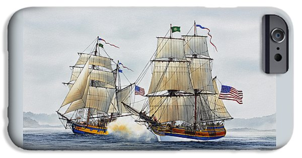 Tall Ship iPhone Cases - Battle Sail iPhone Case by James Williamson