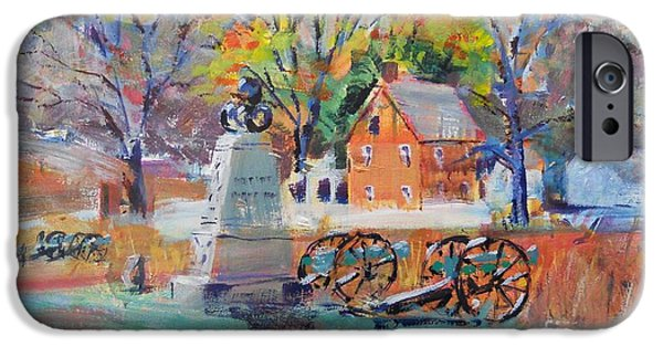 Maine Farms Paintings iPhone Cases - Battlefield Solitude iPhone Case by Larry Lerew