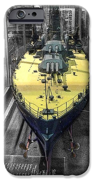 Weapon iPhone Cases - Battleship U S S Oklahoma B B-37 iPhone Case by John Straton