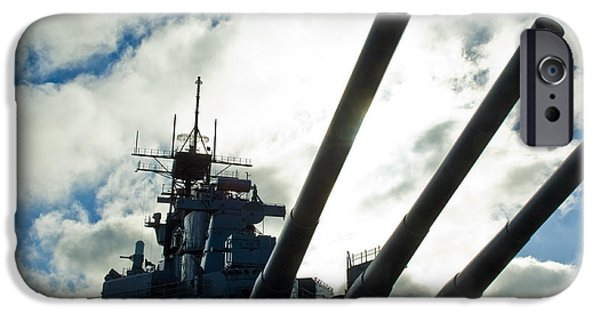 Boat iPhone Cases - Battleship USS Iowa 2 iPhone Case by Micah May