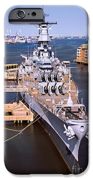 Iraq iPhone Cases - Battleship Wisconsin iPhone Case by Jerry Fornarotto
