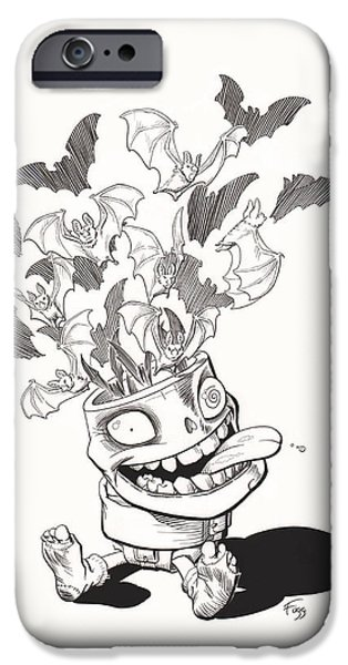 Creepy Drawings iPhone Cases - Batty iPhone Case by Richard Moore