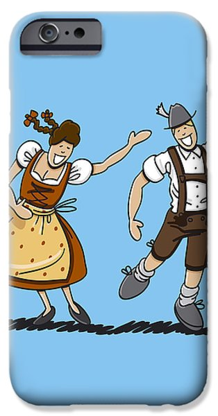 Man iPhone Cases - Bavarian Couple Celebrating The Oktoberfest iPhone Case by Frank Ramspott