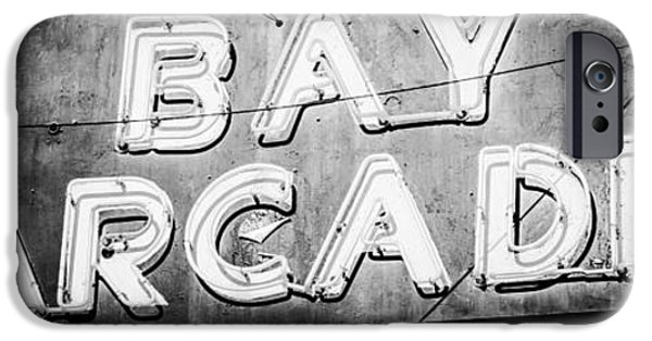 Rust iPhone Cases - Bay Arcade Sign Panorama Photo in Newport Beach iPhone Case by Paul Velgos