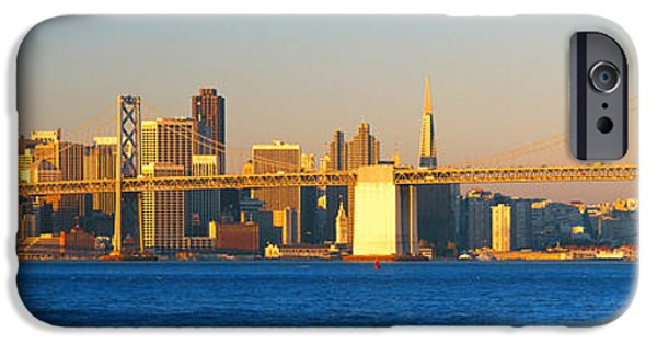 Bay Bridge iPhone Cases - Bay Bridge & San Francisco From Port iPhone Case by Panoramic Images