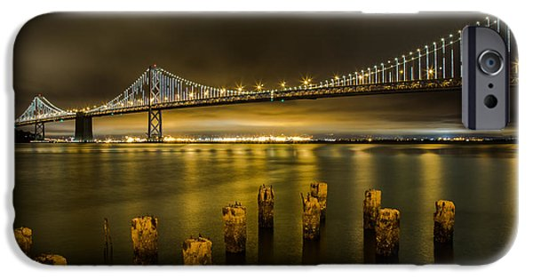 Bay Bridge iPhone Cases - Bay Bridge and Clouds at Night iPhone Case by John Daly