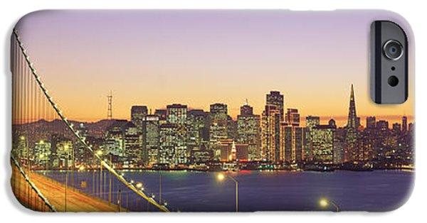 Bay Bridge iPhone Cases - Bay Bridge At Night, San Francisco iPhone Case by Panoramic Images