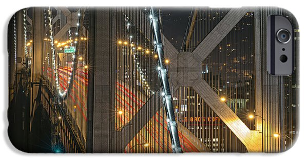 Bay Bridge iPhone Cases - Bay Bridge Night Colors iPhone Case by David Yu