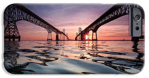 Sunset iPhone Cases - Bay Bridge Reflections iPhone Case by Jennifer Casey