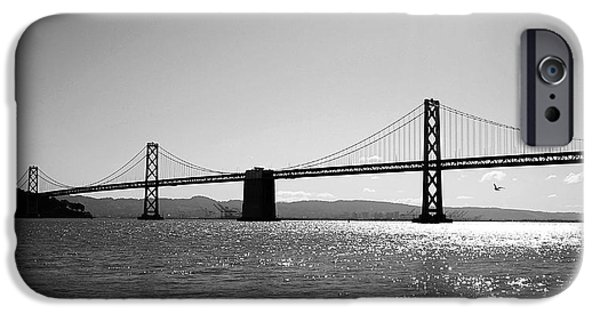 Black And White Art iPhone Cases - Bay Bridge iPhone Case by Rona Black