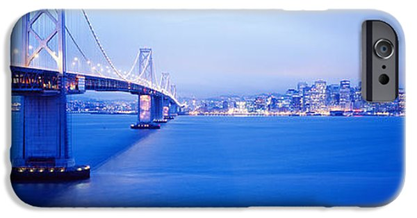 Connection iPhone Cases - Bay Bridge San Francisco Ca iPhone Case by Panoramic Images