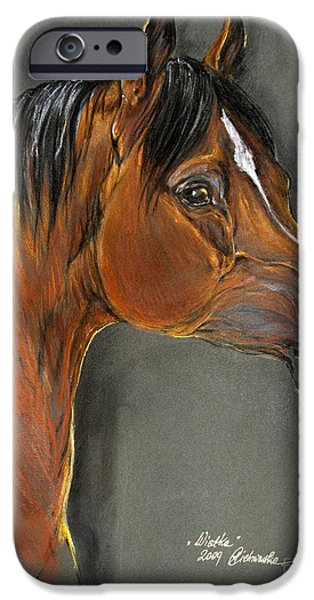 bay horse portrait iPhone Case by Angel  Tarantella